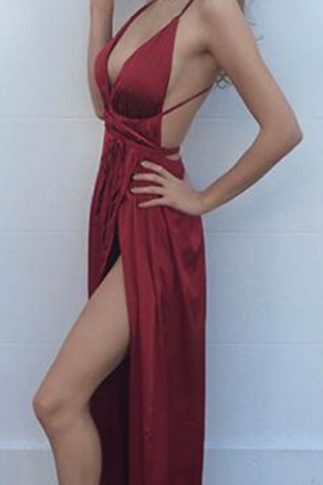 New Arrival Prom Dress,Evening Dresses, Prom Dresses,Party Dresses,Modest Prom Dress,Sexy Burgundy Maxi dress,Vneck Evening Dress,Sexy Slit Side Dresses