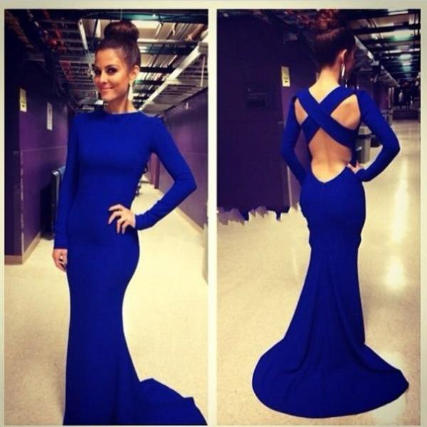 Blue High Neck Long Evening Dresses , Evening Dress 2015 , Floor Length Evening Dresses, Sheath Evening Dresses, Formal Dresses ,Sexy Blackless Long Sleeves Evening Gowns