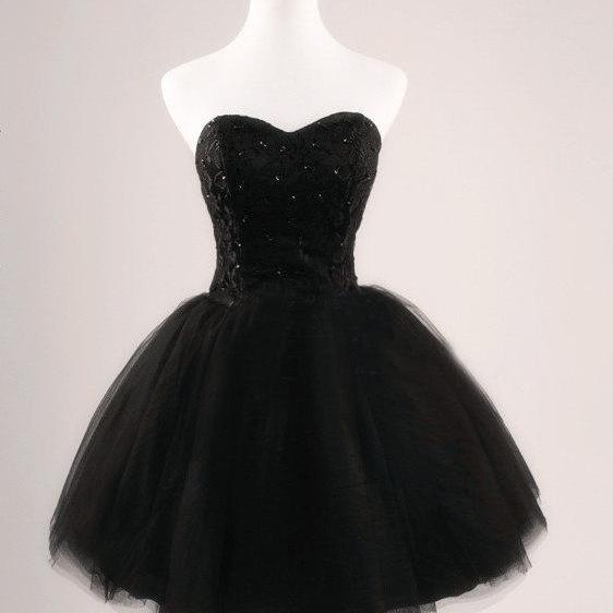 Black evening dress short