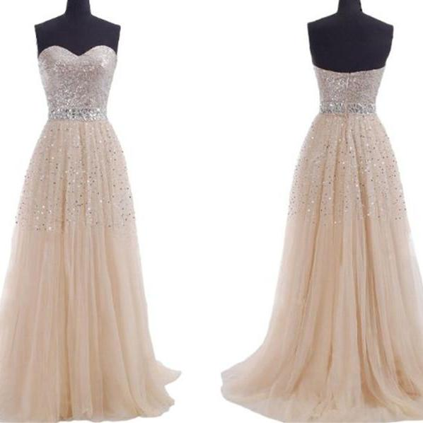 Champagne Prom Dresses 2015 ,Sequins Sweeheart Long Evening Part Dress Custom Made,Chiffon Prom Dress, Dress For Prom,The Elegant Party Dress On Sale