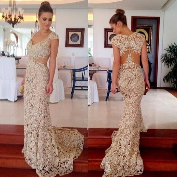 The Elegant Backless Lace Prom Dresses, Dresses For Prom, Lace ...