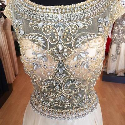 2016 High Quality A Line Crystals Beading Formal Party Dress,Sequins Chiffon Prom Dress,Evening Dress/Cocktail Dress