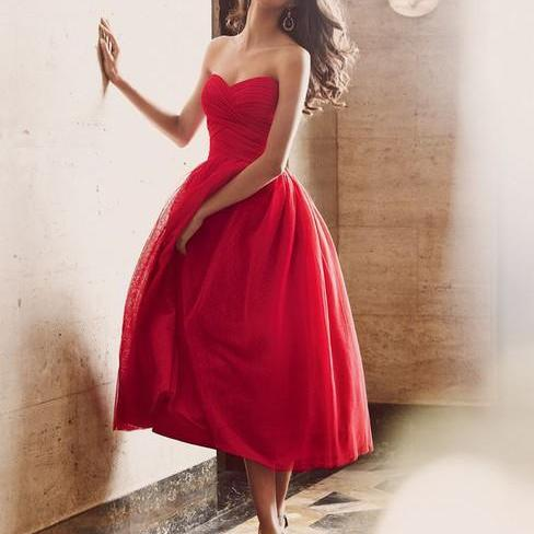 2016 Sweetheart Strapless Red prom Dress,Charming Red Prom Gowns,Dress For Evening,Custom Made Sweetheart Neckline Red Cocktail Dress With Zipper Back