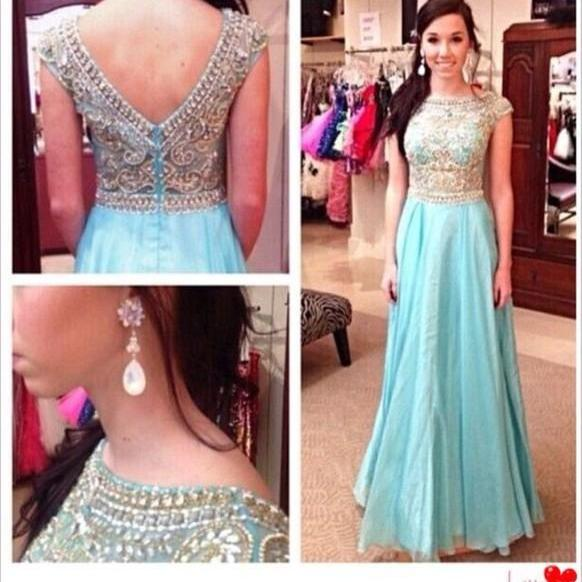 2016 Custom Made A Line Round Neck High Quality Gliteer Party Dress,Formal Dresses,Dresses For Prom,Evening Dresses On Sale