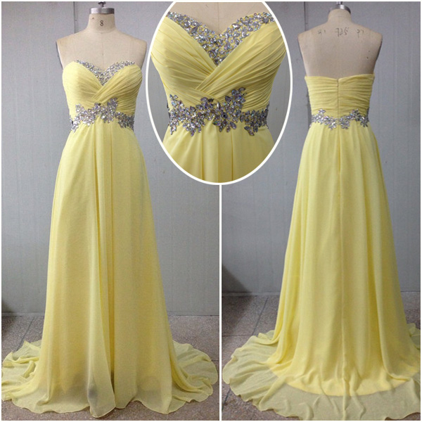 2016Custom Made Yellow Graduation Dresses, Long Evening Dresses,Sweet Dress,Prom Dresses,Party Dress/Cocktail Dress