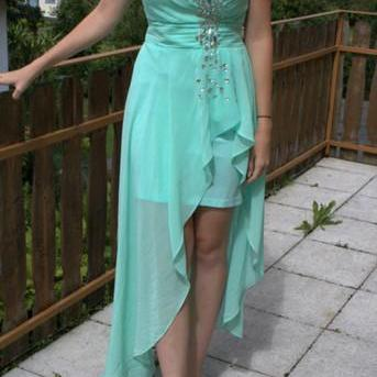Custom Made Simple Chiffon High Low Homecoming Dress,Sweetheart Blue Prom Dress,High Low Prom Dresses,Formal Prom Dress,Prom Dress 2015,