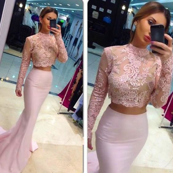 On Sale Long Sleeves Mermaid Prom Dresses,Charming Prom Dress,Lace Pink Prom Dress,Two Pieces High Neck Prom Dress,Two Pieces Formal Dress,Graduation Dress,Dress 2016,