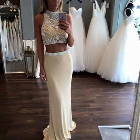 Custom Made 2 Pieces Prom Dresses,Charming Prom Dress,White 2 Pieces Prom Dress,Beading Two Pieces Prom Dress,Elegant Women Dress,Noble Evening Dress