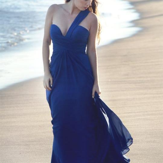 Noble Blue Prom Dress,On-Shoulder Prom Dress,Simple Prom Dress,A-Line Floor Length Prom Dress,Elegant Prom Dress,Chiffon Evening Dress,Party Dress,