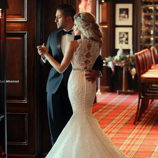Wedding Dress,High Neck Lace Wedding Dresses 2016,Crystals Beading Belt Elegant Court Train Bridal Gowns,Said Mhamad Wedding Dress, Flattering Mermaid Wedding Dresses,