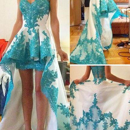 Charming Prom Dress,Blue Lace Applique High Low White Prom Dresses Ruffles Sweetheart Neck Sweep Train Evening Dresses for Teens ,