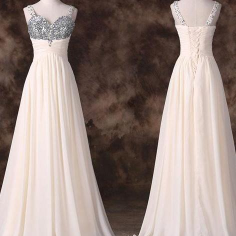 Charming Prom Dress,Chiffon Beading Prom Dress,Back Up Lace Prom Dresses,Long Prom Dress On Sale,Elegant Evening Dress,A line Evening Party Dress,Formal Women Dress,