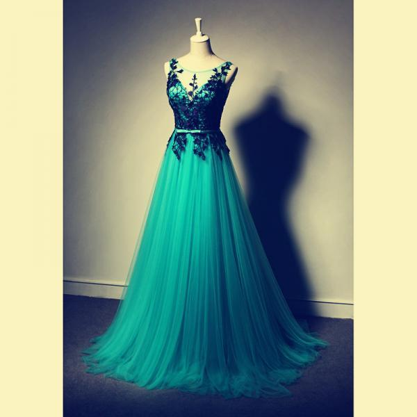 2016 Beautiful Appliques Prom Dress,Long Prom Dress,Prom Gowns 2016,Tulle Evening Dress,Evening Gowns,