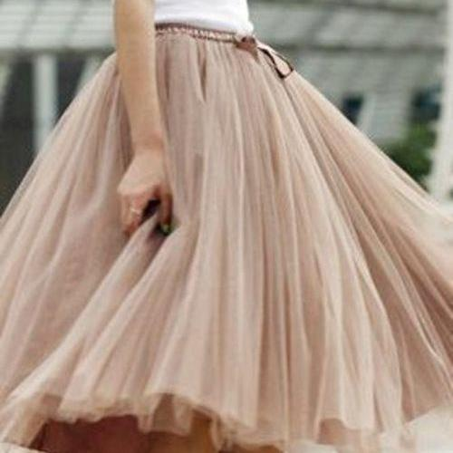 Charming Women Skirt,Spring Autumn Skirt ,A-Line Skirt,Fashion Street Style Skirt,Tulle Skirt,