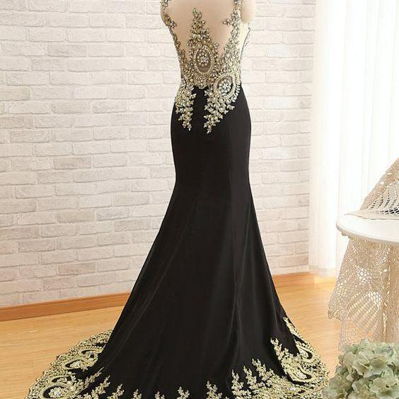 2016 New Long Chiffon Mermaid Crystal Gold Lace Prom Dress Applique Evening Dress ,Evening Formal Dress,Charming Prom Dress,