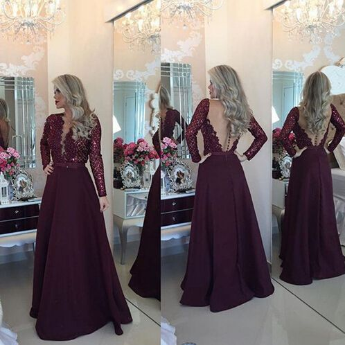 Rhinestone Prom Dress,Long sleeve lace Prom Dress, 2016 Long Prom Dress, Sexy Prom Dress, Long Prom Gowns, Unique Prom Dress,Evening Dress 2016,Formal Dress,Charming Evening Gowns