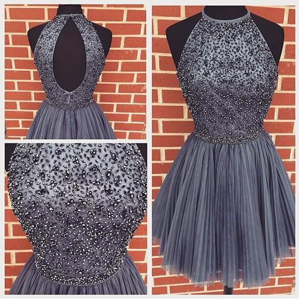 A-line High Neck Black Beaded Bodice Grape Tulle Short Prom Homecoming Dresses,Charming Prom Dress,Party Dress