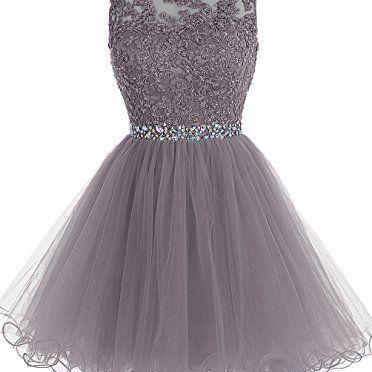 Short Tulle Homecoming Dress Featuring Sleeveless Bodice with Floral Appliqués and Beaded Embellished Belt
