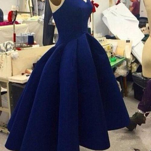 Unique Prom Dress,Dark Blue High Low Prom Dress,Ball Gown,Ball Gown Prom Dress,Party Dress For Teens,Satin Homecoming Party Dress,